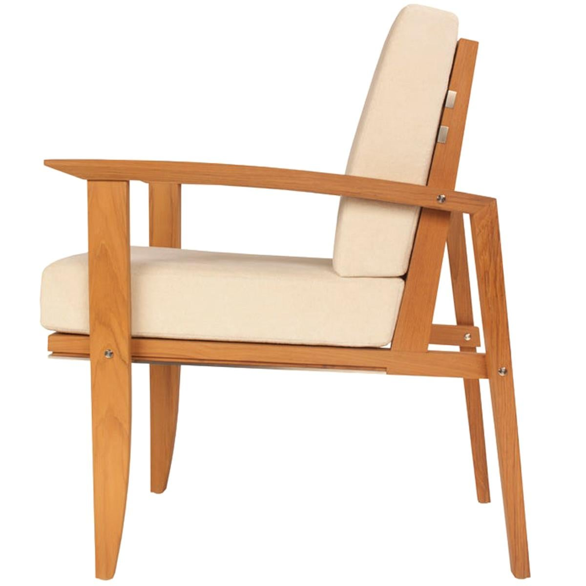 Pollaro Custom Made Teak and Titanium Exterior Dining Armchair