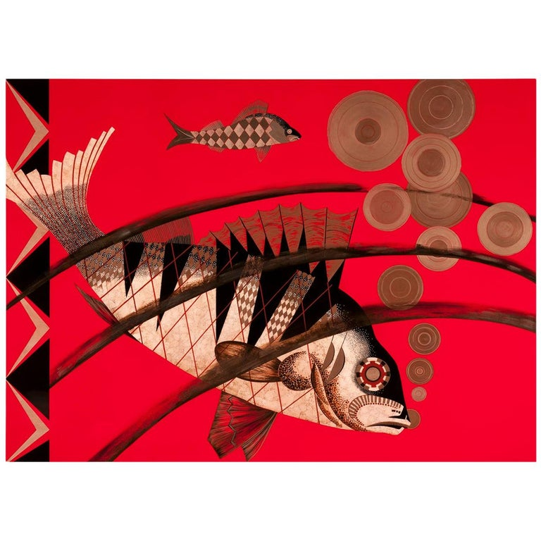 Pollaro Eggshell Inlay and Lacquer Fish Art Inspired by Jean Dunand For Sale