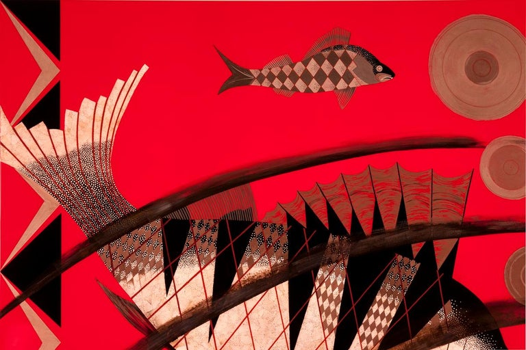 American Pollaro Eggshell Inlay and Lacquer Fish Art Inspired by Jean Dunand For Sale