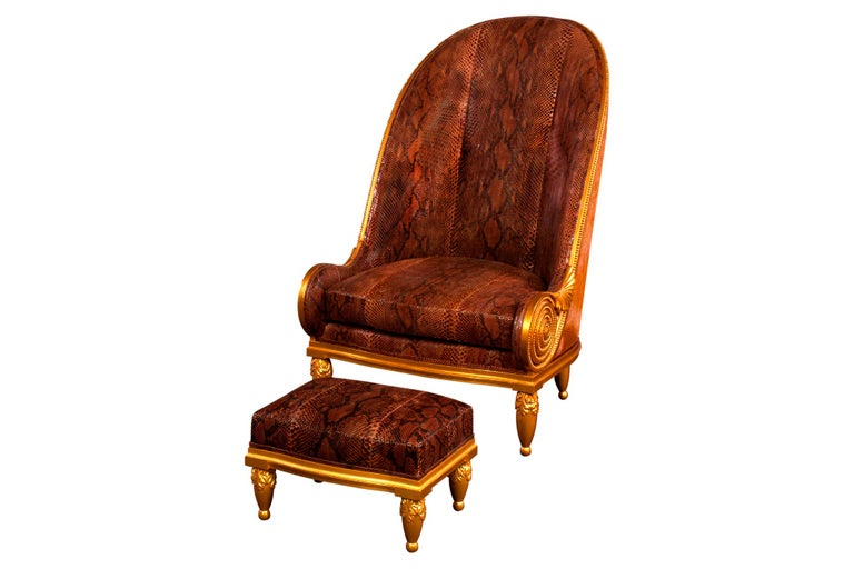 Pollaro Hand Carved and Gilded Iribe-Inspired Python Chair with Ottoman For Sale 2