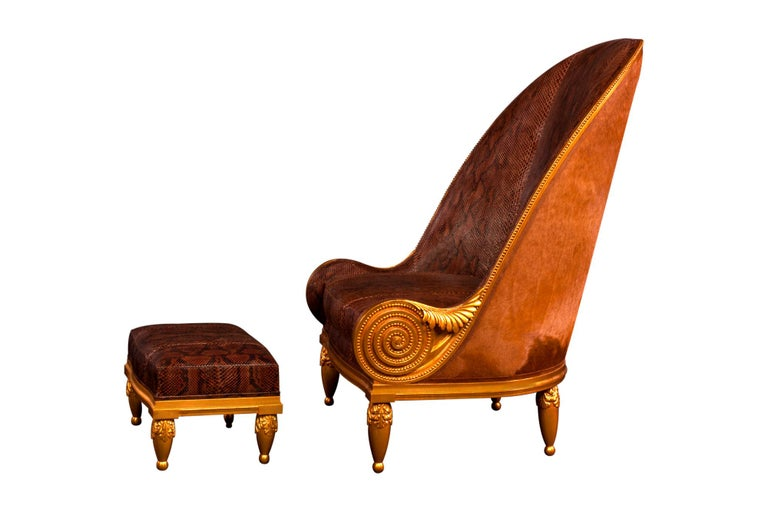 Pollaro Hand Carved and Gilded Iribe-Inspired Python Chair with Ottoman For Sale 3
