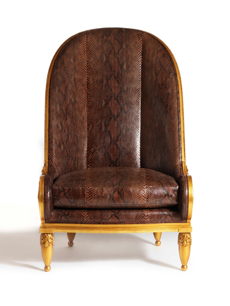 Art Deco Pollaro Hand Carved and Gilded Iribe-Inspired Python Chair with Ottoman For Sale