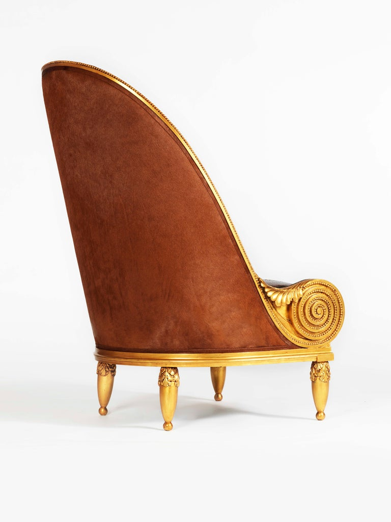 Hand-Carved Pollaro Hand Carved and Gilded Iribe-Inspired Python Chair with Ottoman For Sale