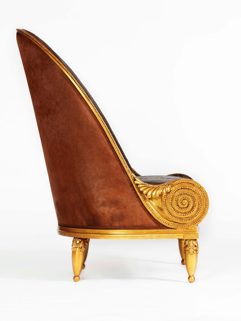 Contemporary Pollaro Hand Carved and Gilded Iribe-Inspired Python Chair with Ottoman For Sale