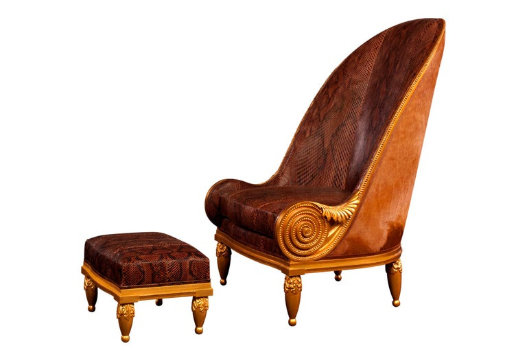 Pollaro Hand Carved and Gilded Iribe-Inspired Python Chair with Ottoman For Sale 1