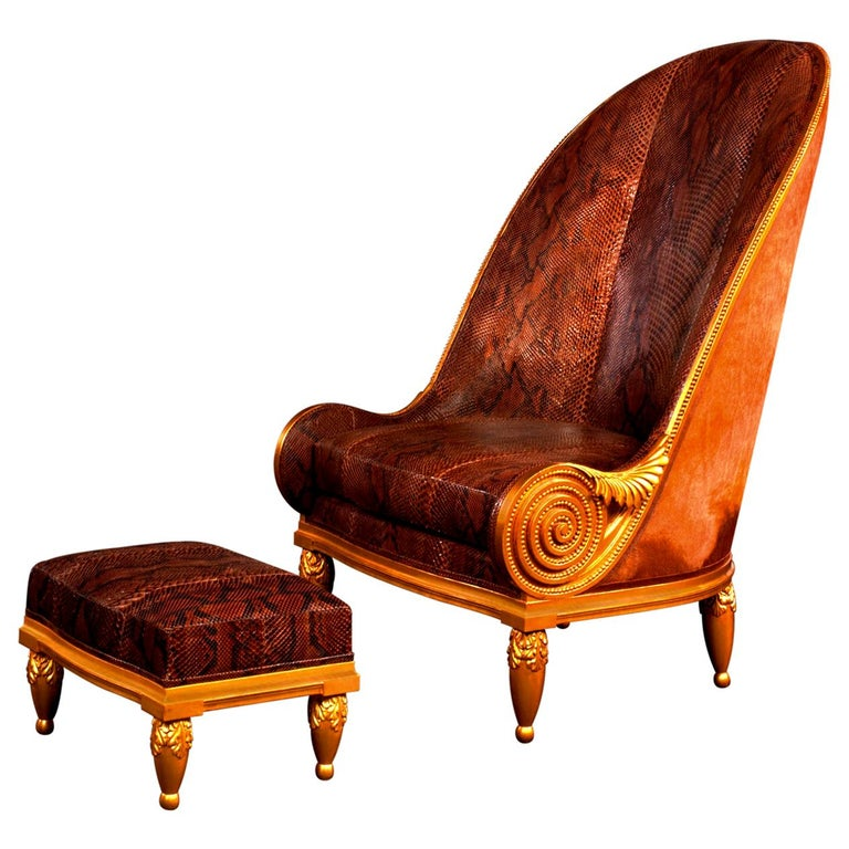 Pollaro Hand Carved and Gilded Iribe-Inspired Python Chair with Ottoman For Sale