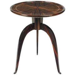 Pollaro Inlaid Ebony and Inlaid Ivory Ruhlmann Reproduction Tripod Table