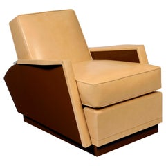 Pollaro Lacquer and Leather Reclining Club Chair After Dupré-Lafon