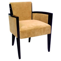 Pollaro Leather and Ebony Armchair Inspired by Dupré-Lafon