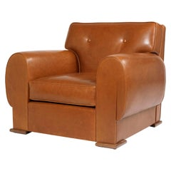Pollaro Leather and Oak Club Chair Inspired by Dupré-Lafon