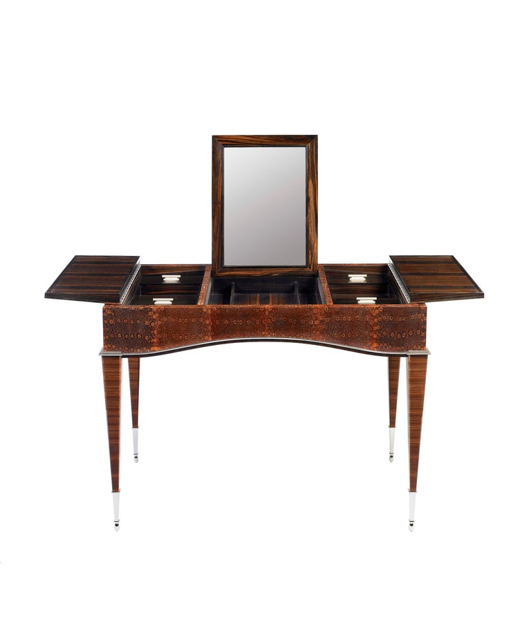 American Pollaro Ring Lizard/ Ebony Émile-Jacques Ruhlmann Reproduction Dressing Table For Sale