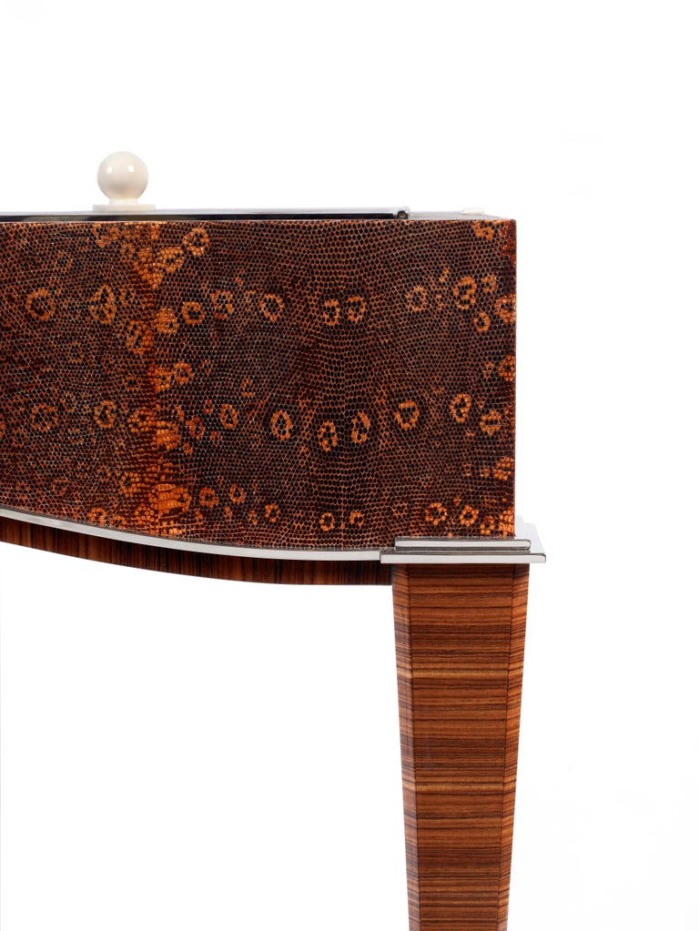 Polished Pollaro Ring Lizard/ Ebony Émile-Jacques Ruhlmann Reproduction Dressing Table For Sale