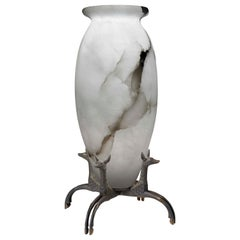 Pollaro Solid Alabaster and Patinated Bronze Rateau-Inspired Table Lamp