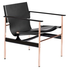 Pollock Armchair, Black Belting Leather, Black Seat Pad & Rose Gold Frame
