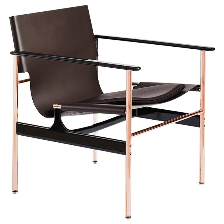 Pollock Armchair, Chocolate Belting Leather, Brown Seat Pad & Rose Gold Frame For Sale