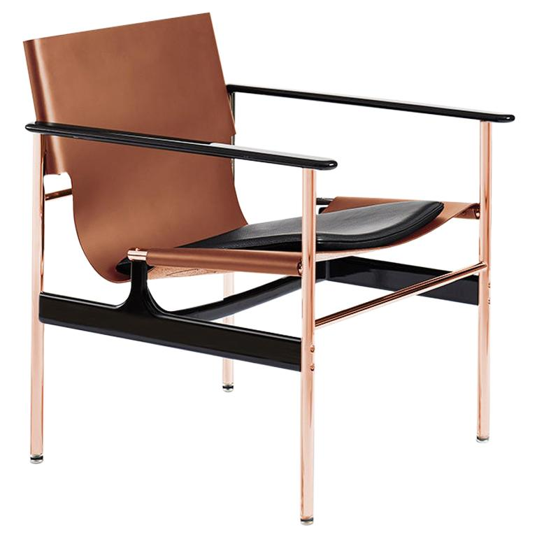 Pollock Armchair, Cognac Belting Leather, Black Seat Pad & Rose Gold Frame For Sale