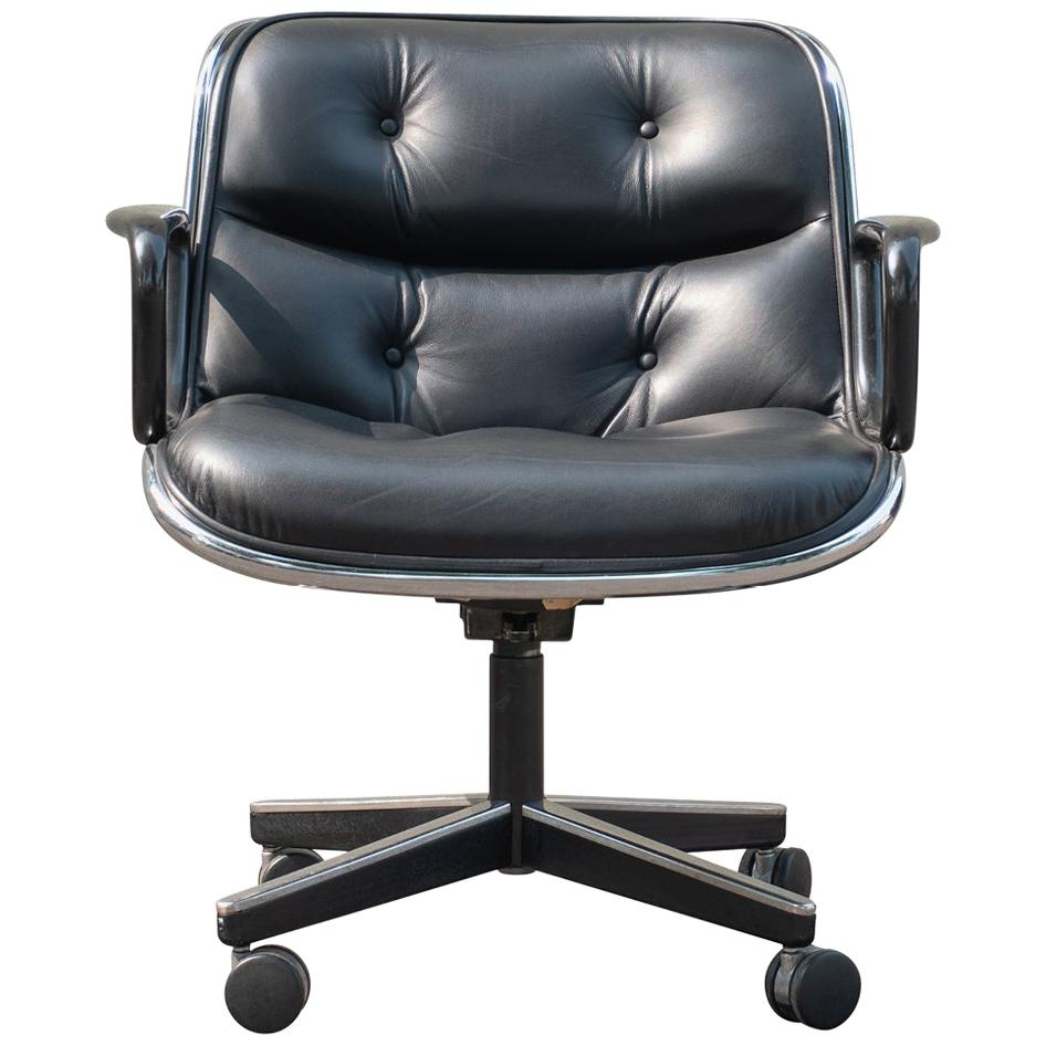 Pollock Executive Chairs in Black Leather by Charles Pollock for Knoll