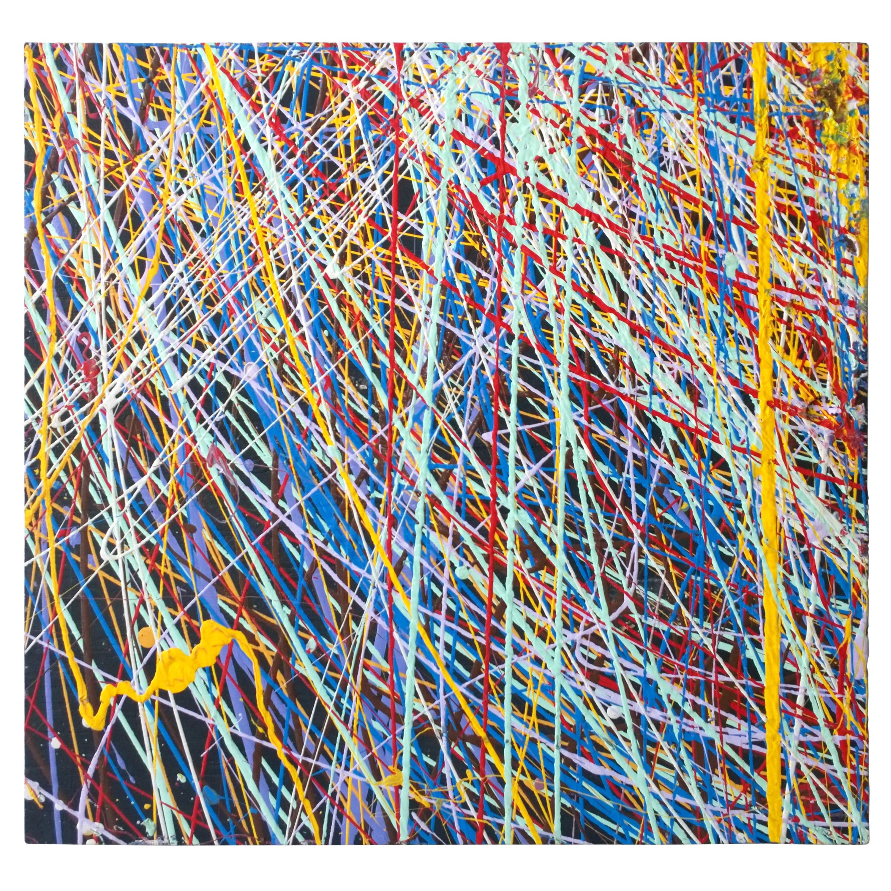 Pollock Style Yellow, Red, Blue & Black Splatter Abstract Oil Painting on Wood