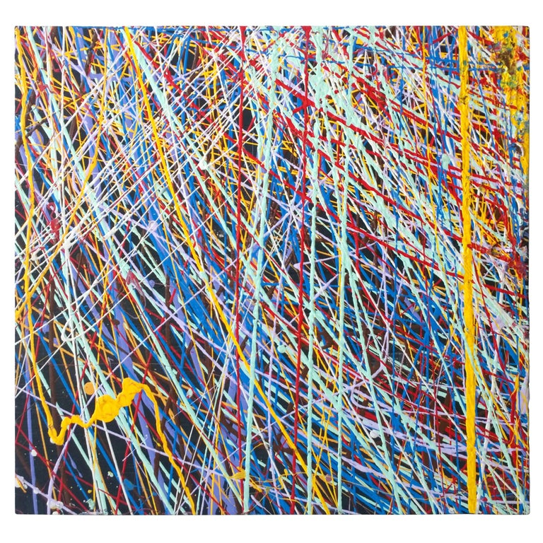 Pollock Style Yellow, Red, Blue & Black Splatter Abstract Oil Painting on Wood For Sale