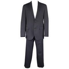 POLO by RALPH LAUREN Size 42 Long Navy Stripe Wool Notch Lapel Suit