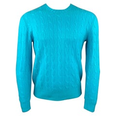 POLO by RALPH LAUREN Size M Aqua Cable Knit Cashmere Crew-Neck Sweater