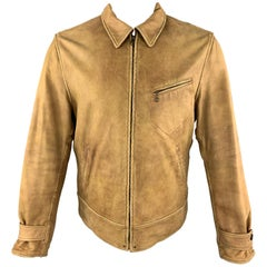 POLO by RALPH LAUREN Size M Tan Distressed Leather Brown Twill Reversible Jacket