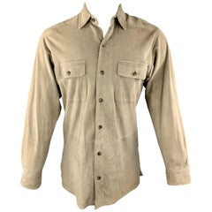 POLO by RALPH LAUREN Size S Khaki Suede Patch Pocket Long Sleeve Shirt