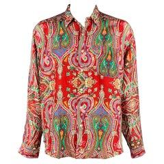 POLO by RALPH LAUREN Size XXL Multi-Color Paisley Silk Button Up Shirt