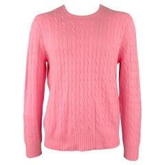 POLO by RALPH LAUREN Size XXL Pink Cable Knit Cashmere Crew-Neck Sweater
