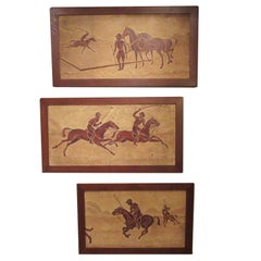 Polo Horses Carved Masonite Panels