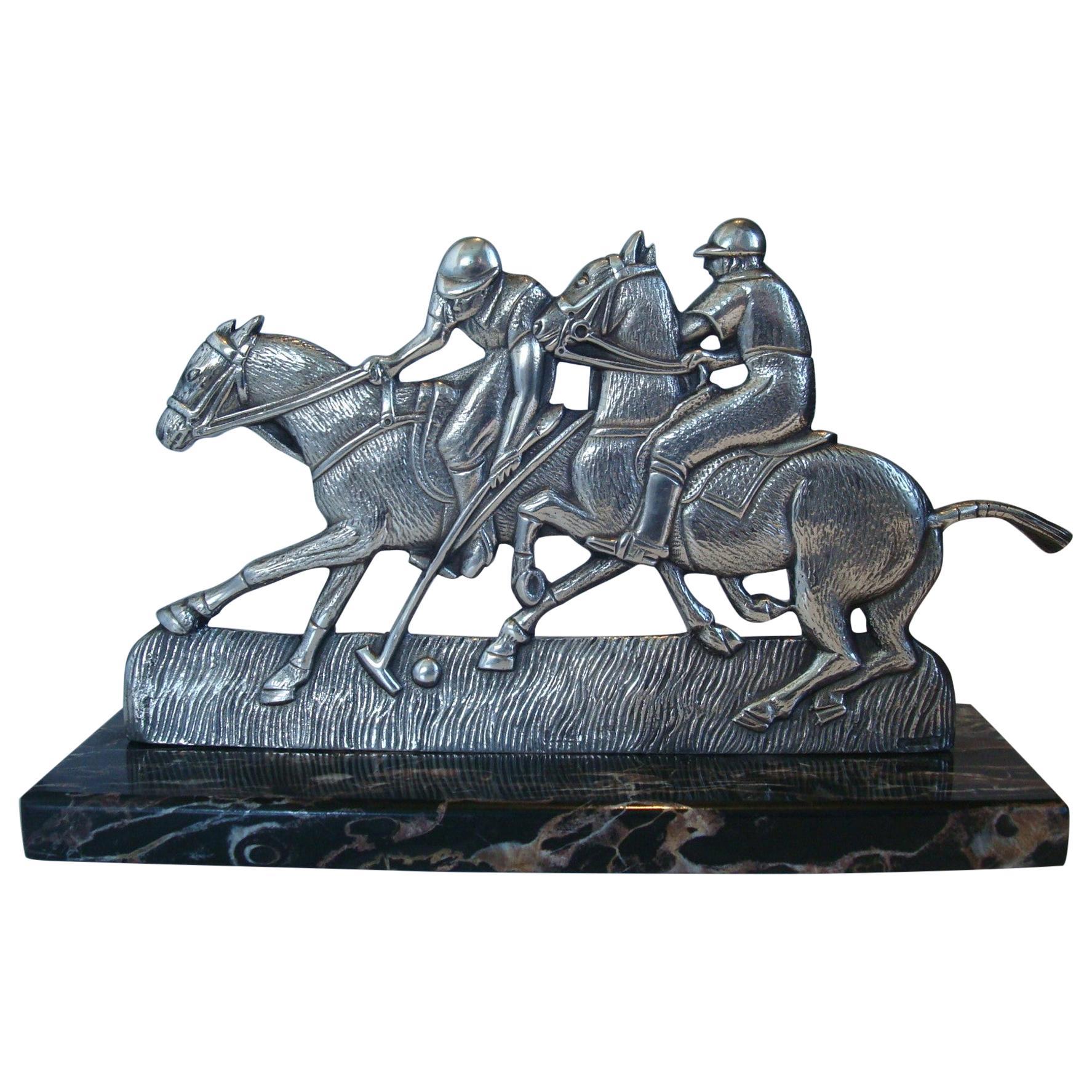 Polo Match Scene Bronze Sculpture, France, 1920´s