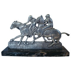 Polo Match Scene Bronze Sculpture, France, 1920´s