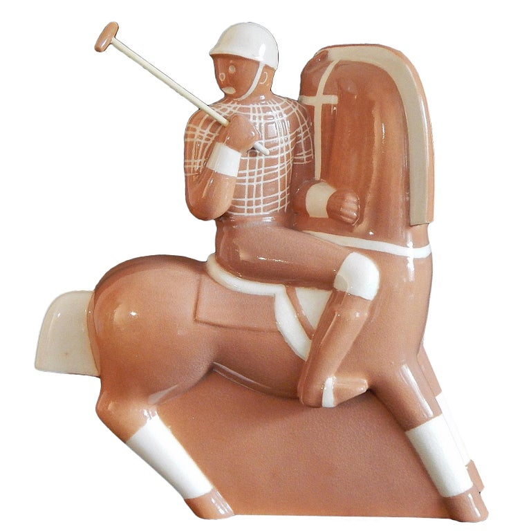 """""""Polo Player,"""" Classic and Rare Art Deco Sculpture in Caramel Hue by Gregory For Sale"""