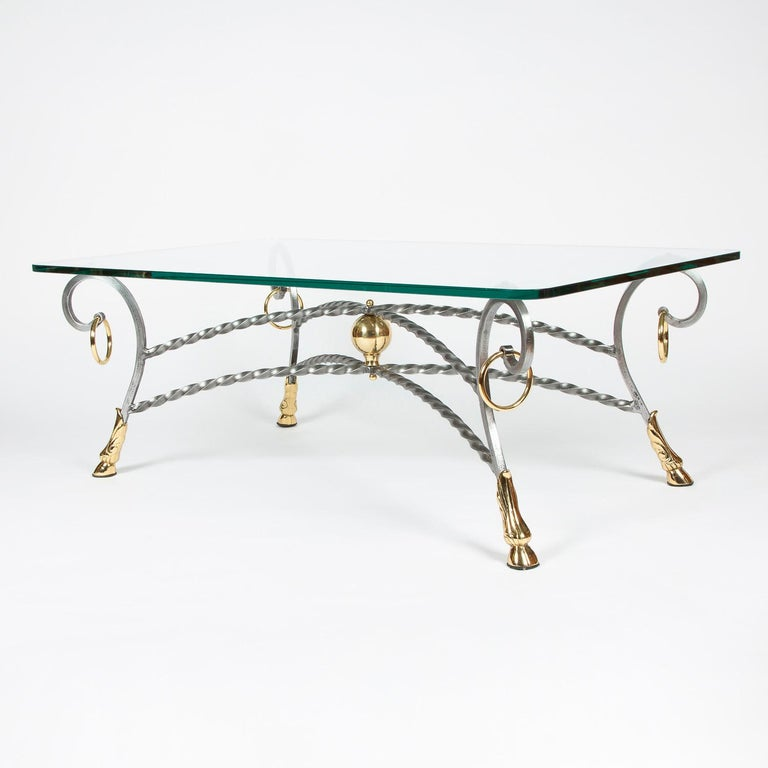 European Polo Themed Coffee Table with Brass Hoofs, Ball and Rings For Sale
