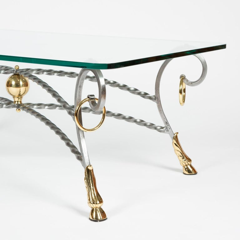 20th Century Polo Themed Coffee Table with Brass Hoofs, Ball and Rings For Sale