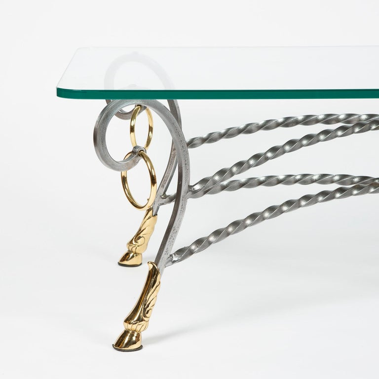 Polo Themed Coffee Table with Brass Hoofs, Ball and Rings For Sale 1