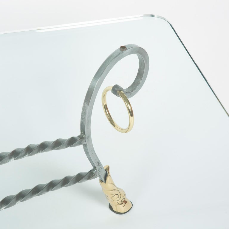Polo Themed Coffee Table with Brass Hoofs, Ball and Rings For Sale 2