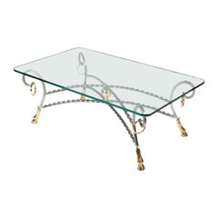 Polo Themed Coffee Table with Brass Hoofs, Ball and Rings