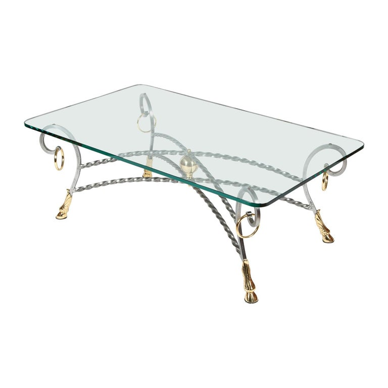Polo Themed Coffee Table with Brass Hoofs, Ball and Rings For Sale