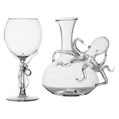 """Polpo Wine Set"" Hand Blown Wine Glasses and Decanter by Simone Crestani"