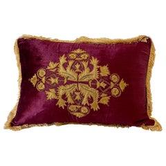 Polster Shaped Velvet Pillow, Gold Velvet Applique and Gold Metallic Embroidery