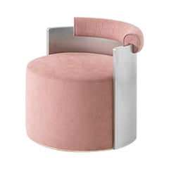 PATTY Pink Mohair Upholstered Armchair with Steel Back by Dimoremilano