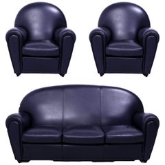 Poltrona Frau, Art Deco Style Dark Blue Leather Sofa and 2 Armchairs Set