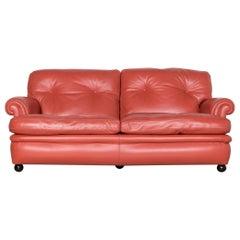 Poltrona Frau Dream on Designer Leather Sofa Orange Two-Seat Couch