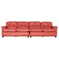 Poltrona Frau Dream on Designer Leather Three-Seat Couch Orange