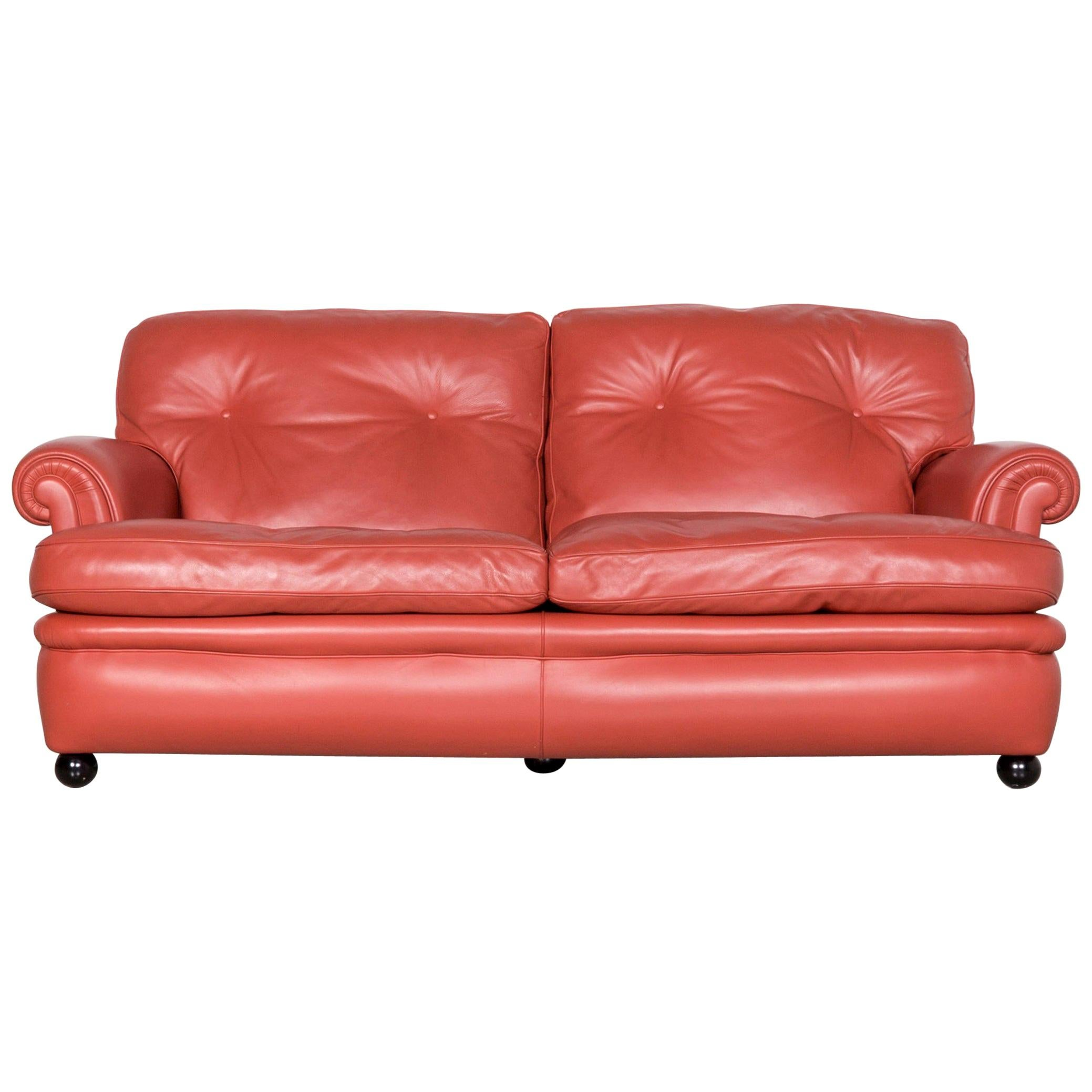 Poltrona Frau Dream on Designer Leather Two-Seat Couch Orange