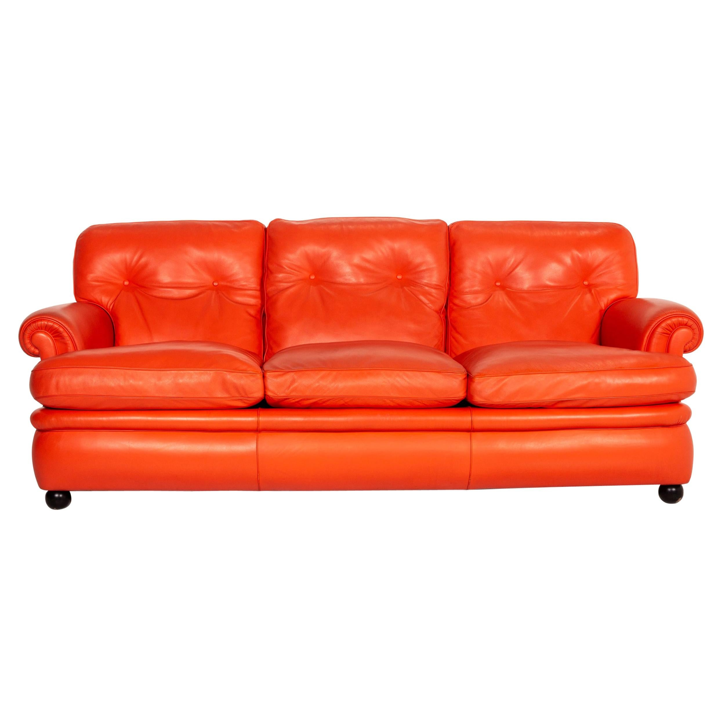 Poltrona Frau Dream on Leather Sofa Coral Orange Chesterfield Sofa Couch
