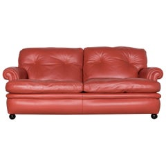 Poltrona Frau Dream on Leather Sofa Coral Orange Two-Seater Couch