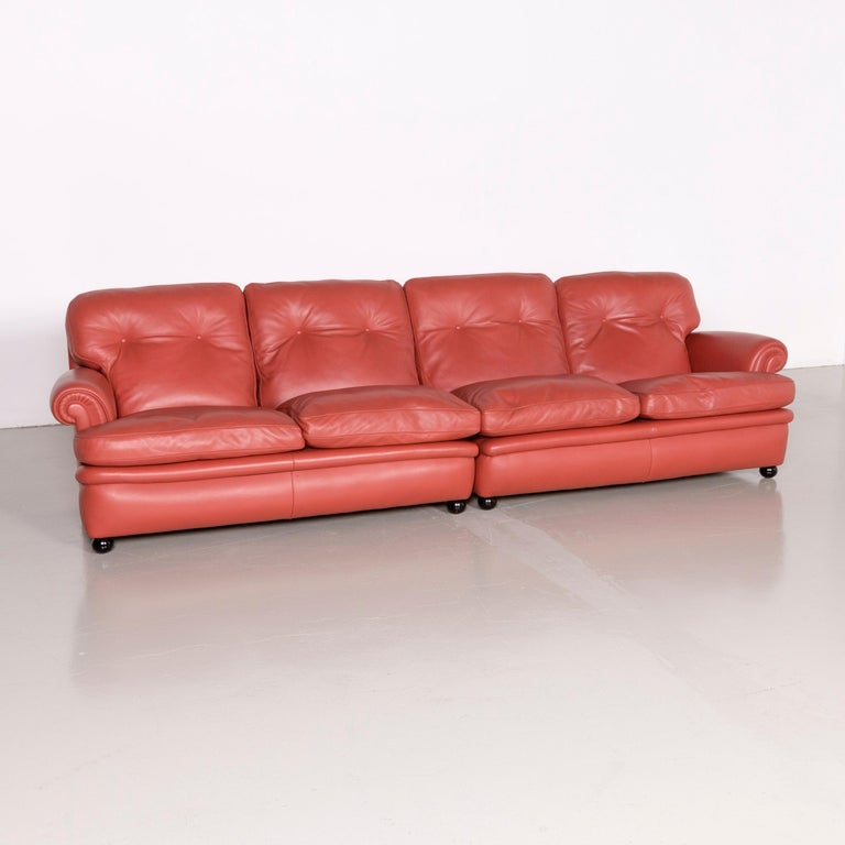 Italian Poltrona Frau Dream on Sofa Footstool Set Designer Leather Three-Seat Couch