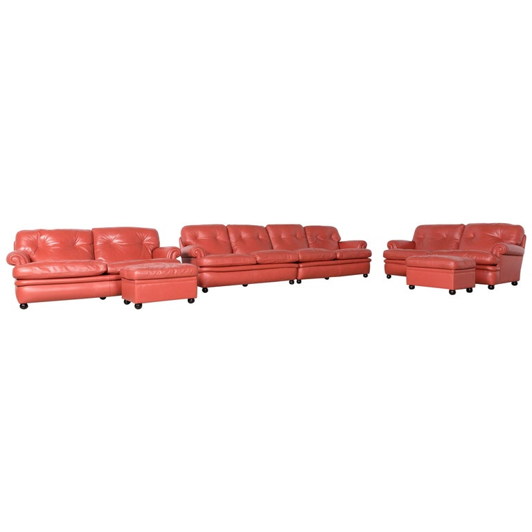 Poltrona Frau Dream on Sofa Footstool Set Designer Leather Three-Seat Couch